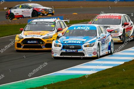 Ollie JACKSON Team Shredded Wheat Racing with Gallagher looks to get past Aiden MOFFAT Laser Tools Racing as they head up the hill during the Kwikfit British Touring Car Championship at Knockhill Racing Circuit, Dunfermline