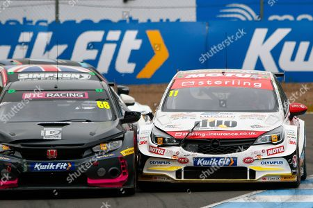 Josh COOK BTC Racing & Jason PLATO Sterling Insurance with Power Maxed Racing go wheel to wheel coming out of the hairpin on the way up to the finish line during the Kwikfit British Touring Car Championship at Knockhill Racing Circuit, Dunfermline