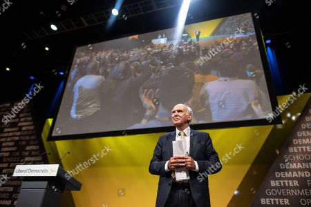 Stock Photo of Sir Vince Cable delivers his final conference speech ahead of stepping down as an MP.