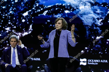 Stock Image of National Geographic Society researcher, Sylvia Earle (R), flanked by Former US Secretary of State John Kerry (L), delivers a speech during the Conference 'The Future of the Planet' in Lisbon, Portugal, 15September 2019.