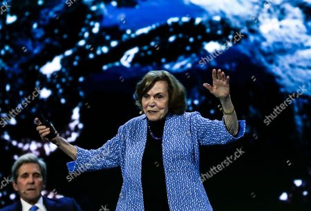 Stock Photo of National Geographic Society researcher, Sylvia Earle (R), flanked by Former US Secretary of State John Kerry (L), delivers a speech during the Conference 'The Future of the Planet' in Lisbon, Portugal, 15September 2019.