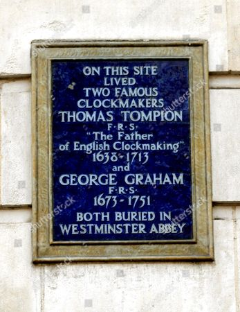 Plaque Shows: Clockmakers Thomas Tompion and George Graham. Fleet Street. London