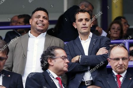 The president of Real Valladolid, Brazilian soccer legend Ronaldo Nazario (L), next to the president of Provincial Council, Conrado Iscar (R), prior to the Spanish LaLiga soccer match between Real Valladolid and Club Atletico Osasuna at Jose Zorrilla Stadium, in Valladolid, Spain, 15 September 2019.