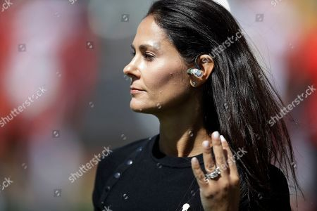 CBS Sports reporter Tracy Wolfson during the first half of an NFL football game between the Oakland Raiders and the Kansas City Chiefs, in Oakland, Calif