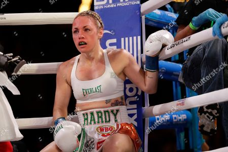 Heather Hardy after the first round of a WBO world female featherweight championship boxing match against Amanda Serrano, in New York. Serrano won the fight