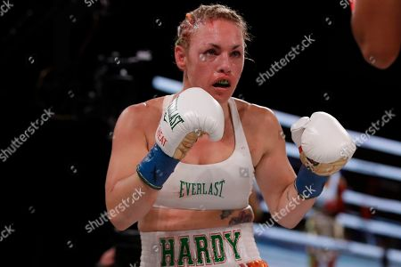 Heather Hardy during the second round of a WBO world female featherweight championship boxing match against Amanda Serrano, in New York. Serrano won the fight