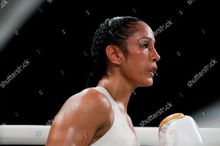 Amanda Serrano during the fifth round of a WBO world female featherweight championship boxing match against Heather Hardy, in New York. Serrano won the fight