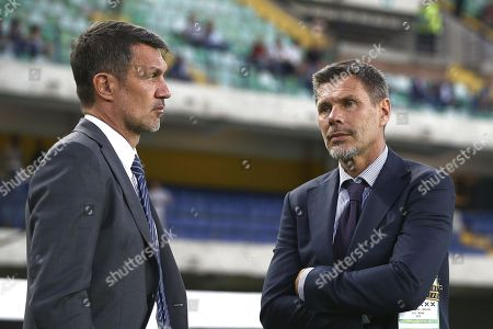 AC Milan's chief football officer Zvonimir Boban (R) and AC Milan's technical director Paolo Maldini (L) before the Italian Serie A soccer match between Hellas Verona FC and AC Milan at the Marcantonio Bentegodi stadium in Verona, Italy, 15 September 2019.