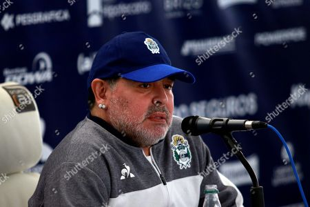 Gimnasia y Esgrima head coach, Diego Maradona, attends a press conference before a game against Racing Club, at the Juan Carmelo Zerillo Stadium, in La Plata, Argentina, 15 September 2019.