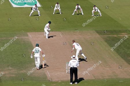 LONDON, ENGLAND. 15 SEPTEMBER David Warner of Australia plays a shot and is caught out by Rory Burns off the bowling of Stuart Broad of England during day four of the 5th Specsavers Ashes Test Match, at The Kia Oval Cricket Ground, London, England