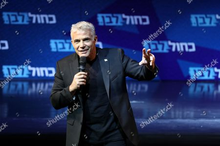 Leader of the Blue and White political alliance, former finance minister Yair Lapid speaks to his supporters during the final stage of his election campaign in Tel Aviv, Israel, 15 September 2019. Israeli legislative elections will be held on 17 September.