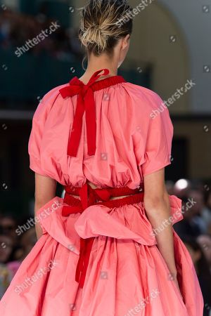 Edie Campbell on catwalk, fashion detail