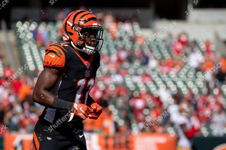 Cincinnati Bengals wide receiver John Ross III (11) returns to the bench after scoring a touchdown during NFL football game action between the San Francisco 49ers and the Cincinnati Bengals at Paul Brown Stadium on , in Cincinnati, OH