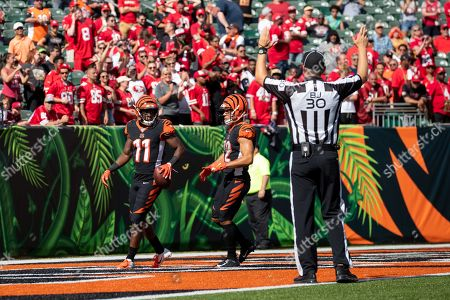 Cincinnati Bengals wide receiver John Ross III (11) reacts after scoring a touchdown during NFL football game action between the San Francisco 49ers and the Cincinnati Bengals at Paul Brown Stadium on , in Cincinnati, OH