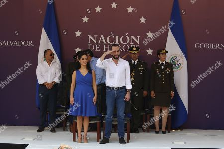 El Salvador's President Nayib Bukele (C) and the first lady Gabriela Rodriguez (C-L) attend the celebration of the National Independence Day parade in San Salvador, El Salvador, 15 September 2019. El Salvador is celebrating its 198th Independence Anniversary.