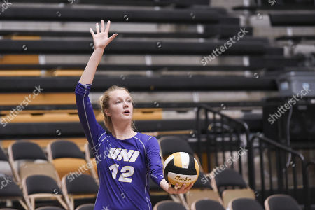 Stock Image of University of Northern Iowa middle hitter Kate Busswitz (12) gets ready to serve the ball during part of the Mizzou Invitational tournament where University of Northern Iowa played Austin Peay, held at The Hearnes Center in Columbia, MO Richard Ulreich/CSM