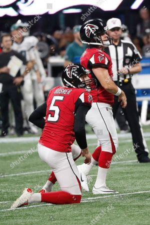 Atlanta Falcons kicker Matt Bryant (3) watches his field goal against the Philadelphia Eagles during the first half of an NFL football game, in Atlanta