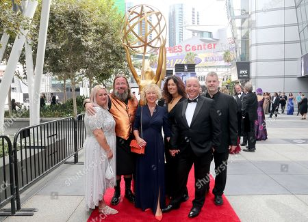 Stock Image of Ellie Conway, Sam Conway, Kelly Stewart, Carol Bush, Laurence Harvey, Alastair Vardy. Ellie Conway, from left, Sam Conway, Kelly Stewart, Carol Bush, Laurence Harvey, and Alastair Vardy arrive at night two of the Television Academy's 2019 Creative Arts Emmy Awards, at the Microsoft Theater in Los Angeles