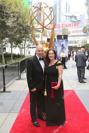 Stock Picture of Tim Streeto, Jessica Rose. Tim Streeto, left, and Jessica Rose arrive at night two of the Television Academy's 2019 Creative Arts Emmy Awards, at the Microsoft Theater in Los Angeles