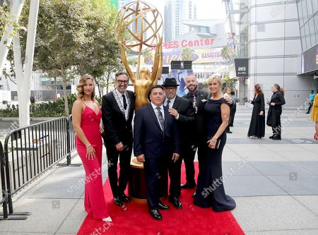 Pedro Ayala, Steve Watson, Conny Marinos, Peter Gurski, Matt Center, Kelly Jones. Kelly Jones, Peter Gurski, Pedro Ayala, Matt Center, Steve Watson, and Conny Marinos arrive at night two of the Television Academy's 2019 Creative Arts Emmy Awards, at the Microsoft Theater in Los Angeles