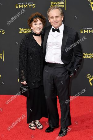 Martha Cumming, Peter MacNicol. Martha Cumming, left, and Peter MacNicol arrive at night two of the Creative Arts Emmy Awards, at the Microsoft Theater in Los Angeles
