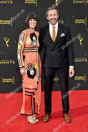 Stock Photo of Dawn O'Porter, Chris O'Dowd. Dawn O'Porter, left, and Chris O'Dowd arrive at night two of the Creative Arts Emmy Awards, at the Microsoft Theater in Los Angeles