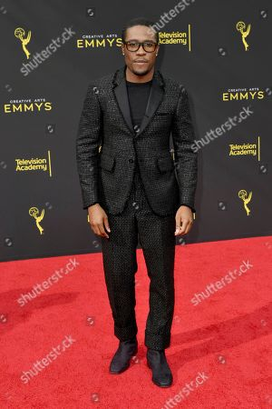 Shameik Moore arrives at night two of the Creative Arts Emmy Awards, at the Microsoft Theater in Los Angeles
