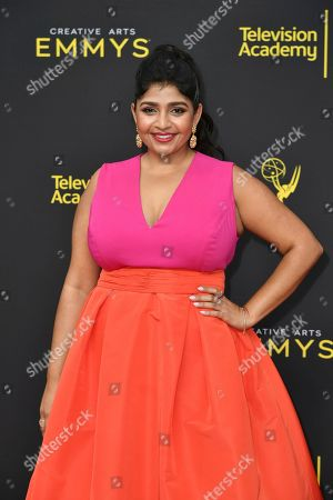 Punam Patel arrives at night two of the Creative Arts Emmy Awards, at the Microsoft Theater in Los Angeles