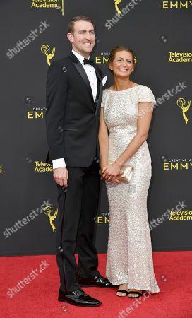 Tara Feldstein, Zach Bennett. Zach Bennett, left, and Tara Feldstein arrive at night two of the Creative Arts Emmy Awards, at the Microsoft Theater in Los Angeles