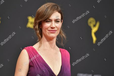 Maggie Siff arrives at night two of the Creative Arts Emmy Awards, at the Microsoft Theater in Los Angeles