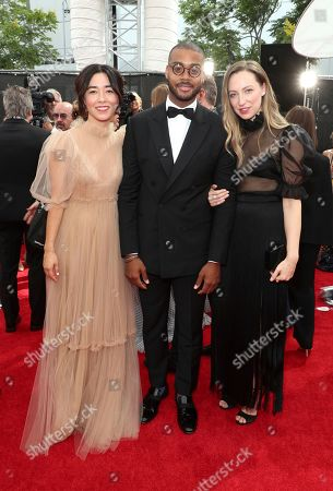 Maya Erskine, Kris Bowers, Anna Konkle. Maya Erskine, from left, Kris Bowers, and Anna Konkle arrive at night two of the Television Academy's 2019 Creative Arts Emmy Awards, at the Microsoft Theater in Los Angeles