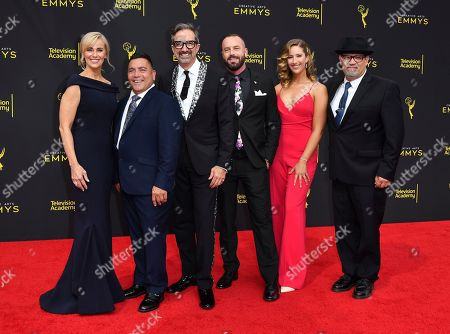 Conny Marinos, Pedro Ayala, Peter Gurski, Matt Center, Kelly Jones and Steve Watson. Conny Marinos, from left, Pedro Ayala, Peter Gurski, Matt Center, Kelly Jones and Steve Watson arrive at night two of the Television Academy's 2019 Creative Arts Emmy Awards, at the Microsoft Theater in Los Angeles
