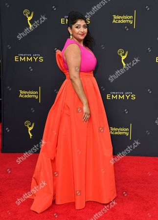 Punam Patel arrives at night two of the Television Academy's 2019 Creative Arts Emmy Awards, at the Microsoft Theater in Los Angeles