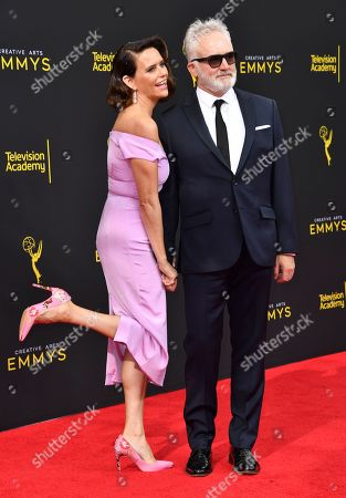 Bradley Whitford, Amy Landecker. Bradley Whitford, left, and Amy Landecker arrive at night two of the Television Academy's 2019 Creative Arts Emmy Awards, at the Microsoft Theater in Los Angeles