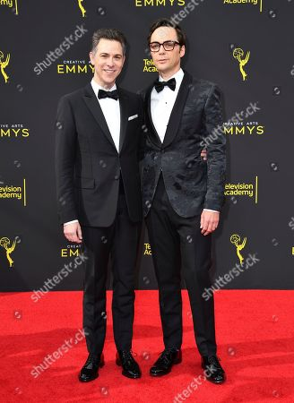 Todd Spiewak, Jim Parsons. Todd Spiewak, left, and Jim Parsons arrive at night two of the Television Academy's 2019 Creative Arts Emmy Awards, at the Microsoft Theater in Los Angeles