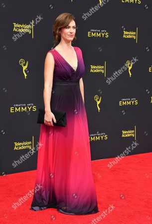 Maggie Siff arrives at night two of the Television Academy's 2019 Creative Arts Emmy Awards, at the Microsoft Theater in Los Angeles