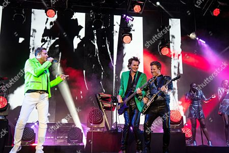 Simon Le Bon John Taylor Dominic Brown. Simon Le Bon, from left, John Taylor, and Dominic Brown of Duran Duran perform during KAABOO 2019 at the Del Mar Racetrack and Fairgrounds, in Del Mar, Calif