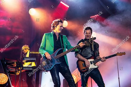 Stock Picture of John Taylor Dominic Brown. John Taylor, left, and Dominic Brown of Duran Duran perform during KAABOO 2019 at the Del Mar Racetrack and Fairgrounds, in Del Mar, Calif