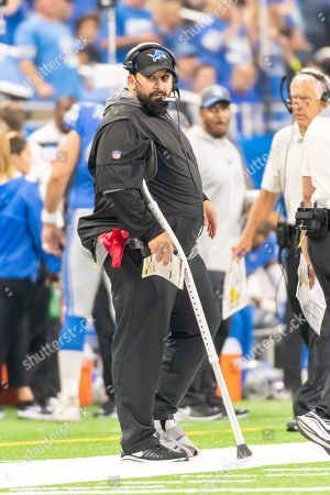 DETROIT, MI - : Detroit Lions head coach Matt Patricia on the sideline in a walking boot and a crutch during NFL game between Los Angeles Chargers and Detroit Lions on at Ford Field in Detroit, MI