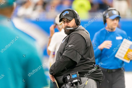 DETROIT, MI - : Detroit Lions head coach Matt Patricia on the sideline gives a look to the bench during NFL game between Los Angeles Chargers and Detroit Lions on at Ford Field in Detroit, MI