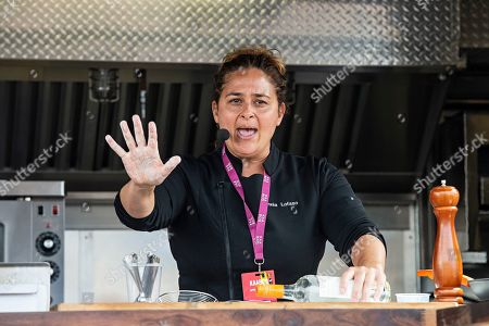 Stock Picture of Chef Antonia Lofaso cooks during KAABOO 2019 at the Del Mar Racetrack and Fairgrounds, in Del Mar, Calif