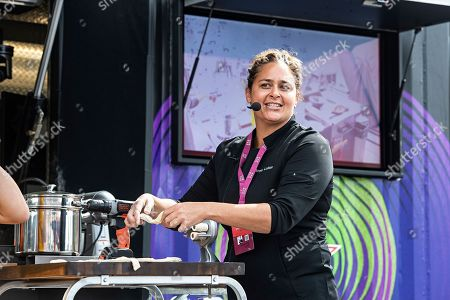 Stock Photo of Chef Antonia Lofaso cooks during KAABOO 2019 at the Del Mar Racetrack and Fairgrounds, in Del Mar, Calif