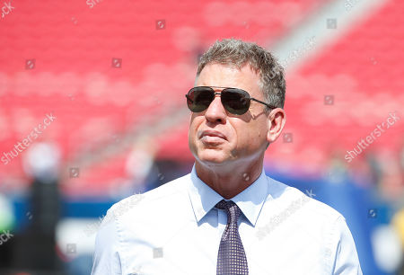 Former Dallas Cowboys quarterback Troy Aikman in attendance during the NFL game between the Los Angeles Rams and the New Orleans Saints at the Los Angeles Coliseum in Los Angeles, California
