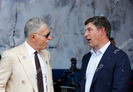 Los Angeles Rams owner Stan Kroenke talks with SoFi CEO Anthony Noto before the NFL game between the Los Angeles Rams and the New Orleans Saints at the Los Angeles Coliseum in Los Angeles, California