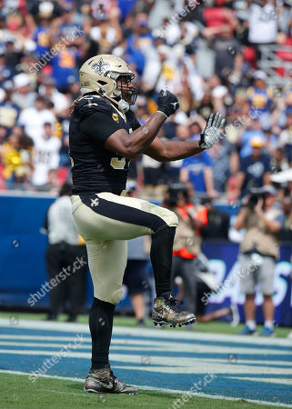 New Orleans Saints defensive end Cameron Jordan (94) celebrates a sack during the NFL game between the Los Angeles Rams and the New Orleans Saints at the Los Angeles Coliseum in Los Angeles, California