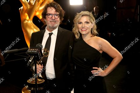 """Billy Hopkins, Ashley Ingram. Billy Hopkins, left, and Ashley Ingram backstage with the award for outstanding casting for a limited series, movie or special for """"When They See Us,"""" night two of the Television Academy's 2019 Creative Arts Emmy Awards, at the Microsoft Theater in Los Angeles"""