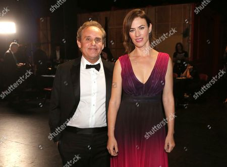 Peter MacNicol, Maggie Siff. Peter MacNicol, left, and Maggie Siff backstage during night two of the Television Academy's 2019 Creative Arts Emmy Awards, at the Microsoft Theater in Los Angeles