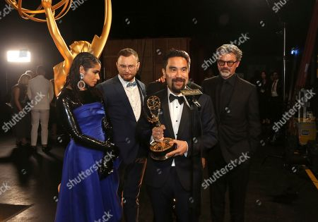 "Shahana Khan, Rustam Hasanov, Kirk H. Shintani, Angus Wall. Shahana Khan, from left, Rustam Hasanov, Kirk H. Shintani, and Angus Wall with their award for outstanding main title design for ""Game of Thrones"" during night two of the Television Academy's 2019 Creative Arts Emmy Awards, at the Microsoft Theater in Los Angeles"