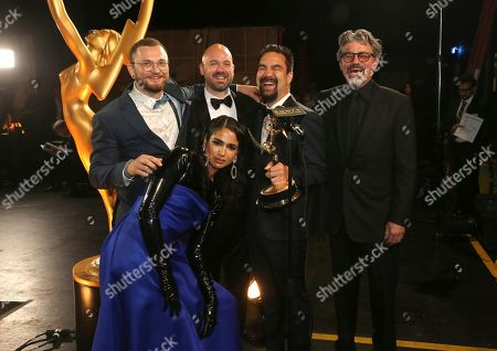 "Shahana Khan, Rustam Hasanov, Ian Ruhfass, Kirk H. Shintani, Angus Wall. Rustam Hasanov, from left, Shahana Khan, Ian Ruhfass, Kirk H. Shintani, and Angus Wall with their award for outstanding main title design for ""Game of Thrones"" during night two of the Television Academy's 2019 Creative Arts Emmy Awards, at the Microsoft Theater in Los Angeles"