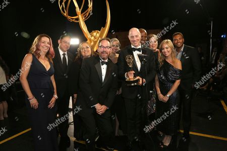 "Brown Johnson, Benjamin Lehmann, Ken Scarborough, Mindy Fila, Karyn Leibovich, Stephanie Longardo. The team from ""When You Wish Upon A Pickle: A Sesame Street Special"" with the award for outstanding children's program at night two of the Television Academy's 2019 Creative Arts Emmy Awards, at the Microsoft Theater in Los Angeles"